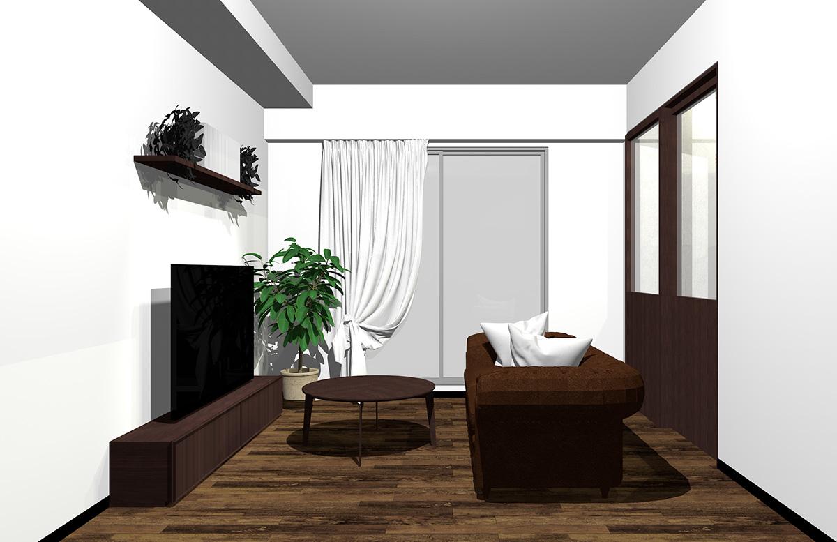フローリング・建具・家具・ソファをダークブラウンでまとめたインテリア