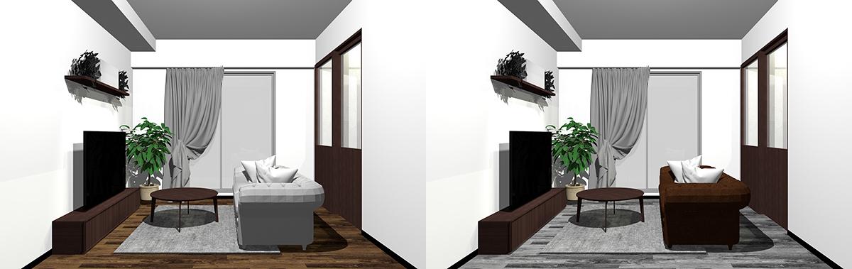 ダークブラウンとグレーを床と家具で