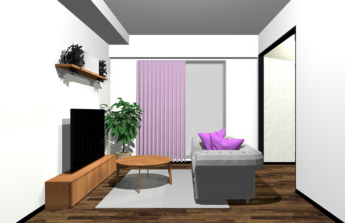 グレーと紫の配色のインテリア