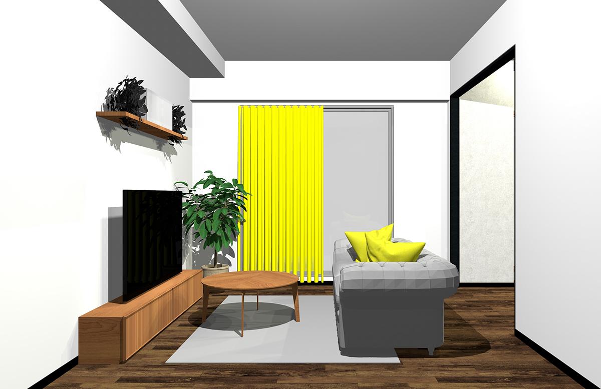グレーと黄色の配色のインテリア