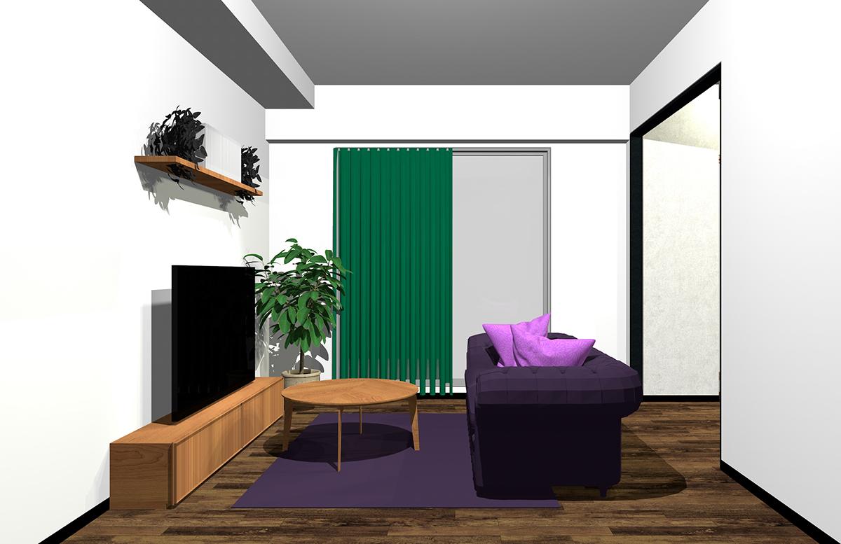 緑と紫の配色のインテリア