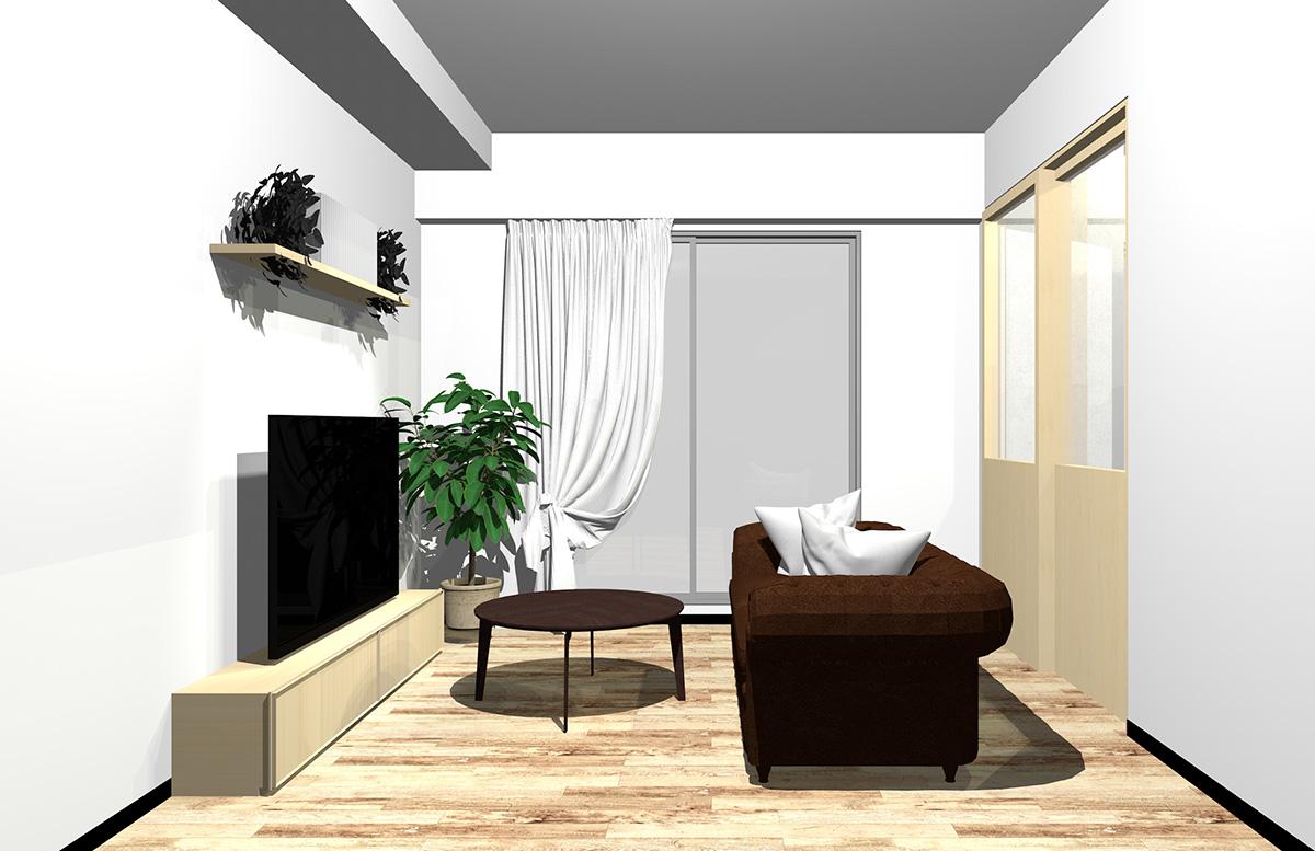 フローリングと建具、家具の一部を白っぽいブラウン、ソファとコーヒーテーブルをダークブラウンまとめたインテリア