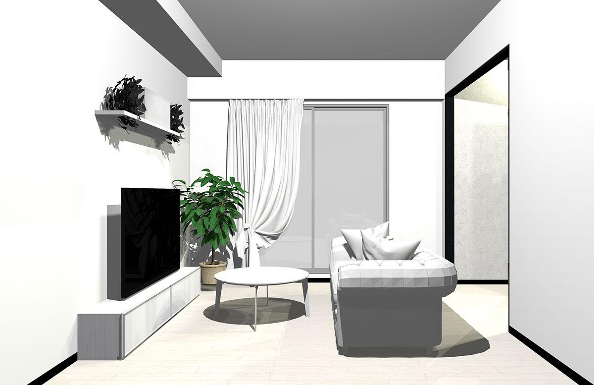 曲線デザインの家具やふんわりとしたファブリックで作ったホワイトインテリア