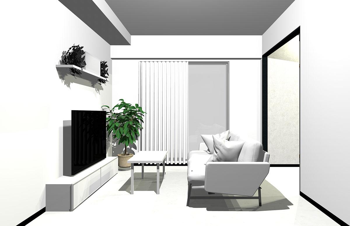 直線的(シャープな印象)の家具やファブリックで作ったホワイトインテリア