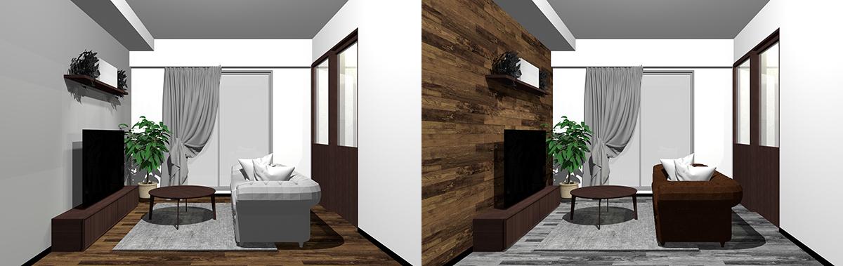 ダークブラウンとグレーを床と壁で