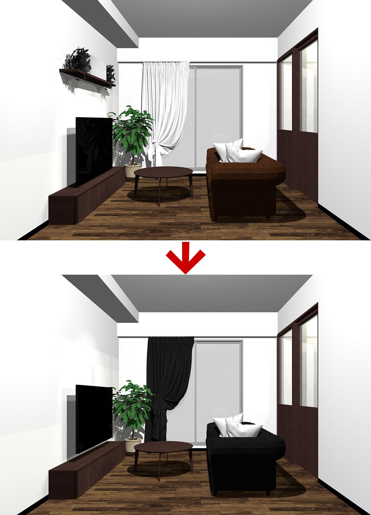 ダークブラウン配色のインテリアとダークブラウン×ブラック配色のインテリア
