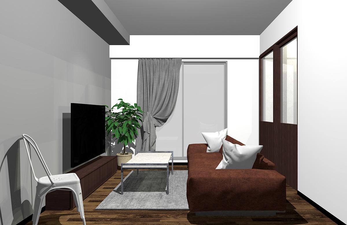 直線的なデザインのソファ
