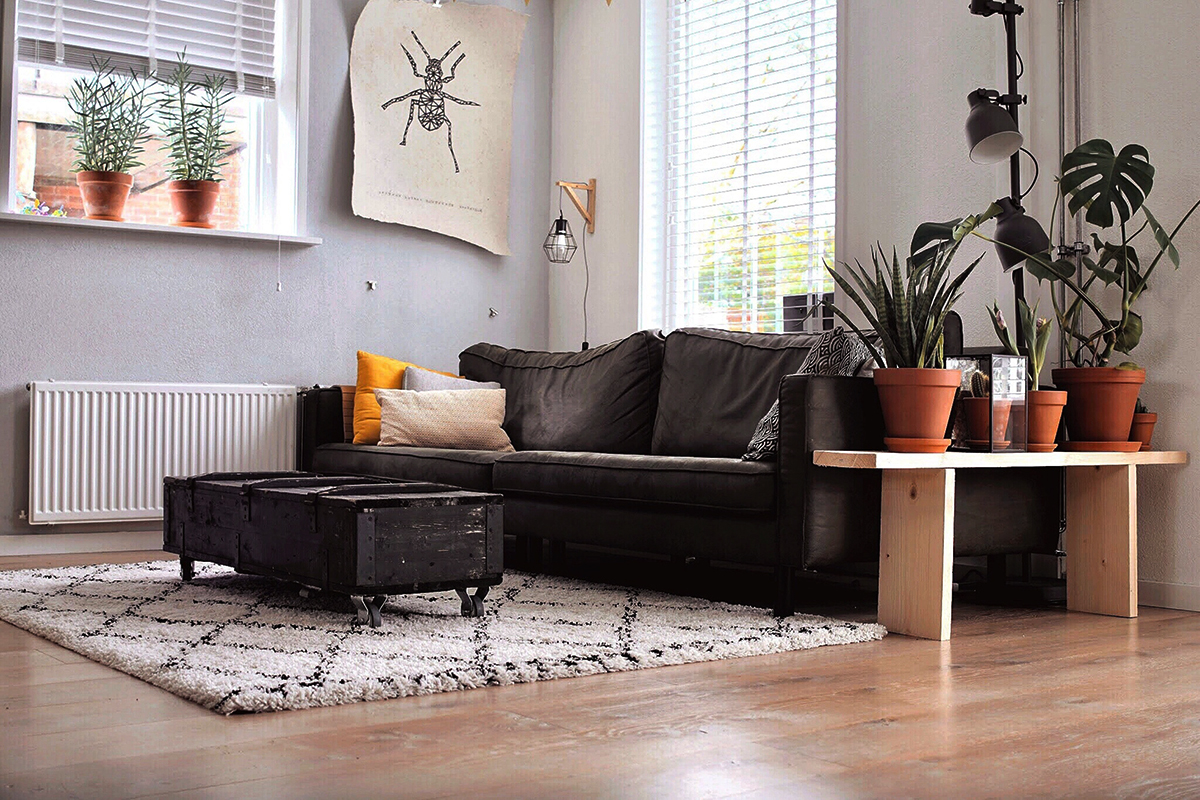 フローリングとソファとテーブル