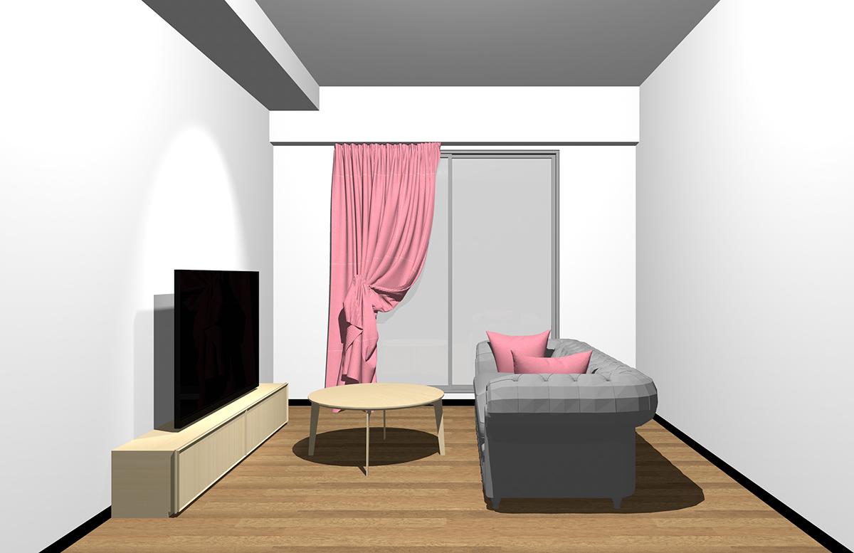 北欧インテリアを意識していない一般的なコーディネートのリビングに鮮やかなピンクのカーテンとクッションを加えたインテリア