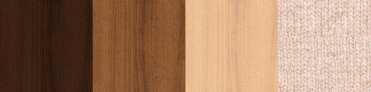 3種類の木目とベージュのファブリック