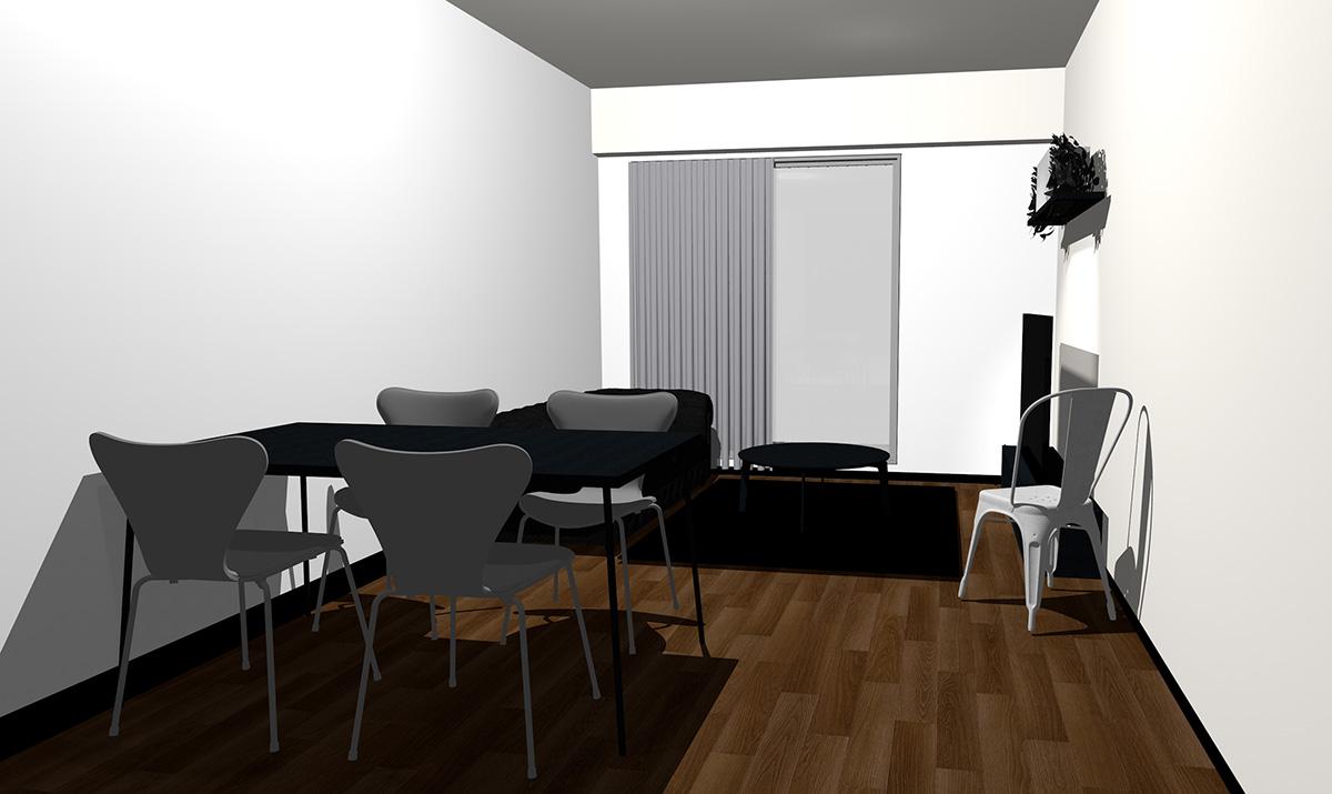 ダークブラウンの床とブラックの家具
