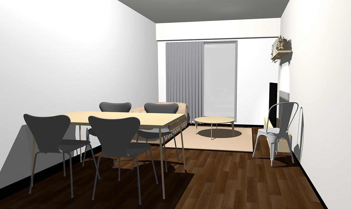 ダークブラウンの床とナチュラルブラウンの家具