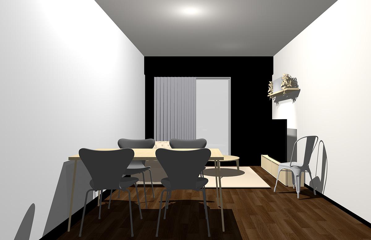 ダークブラウンの床・ブラックの壁・ナチュラル(ライト)ブラウンの家具