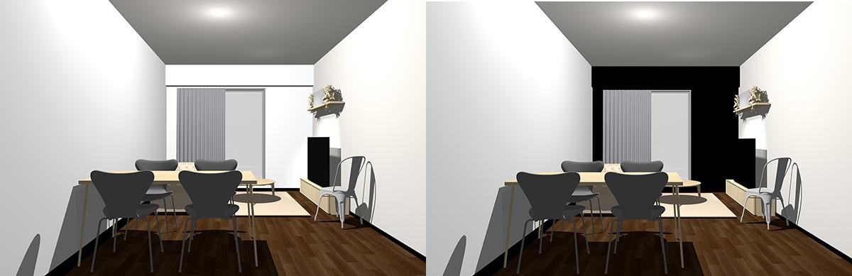 「ダークブラウンの床・ナチュラル(ライト)ブラウンの家具・ホワイトの壁」と「ダークブラウンの床・ナチュラル(ライト)ブラウンの家具・ブラックの壁」の比較