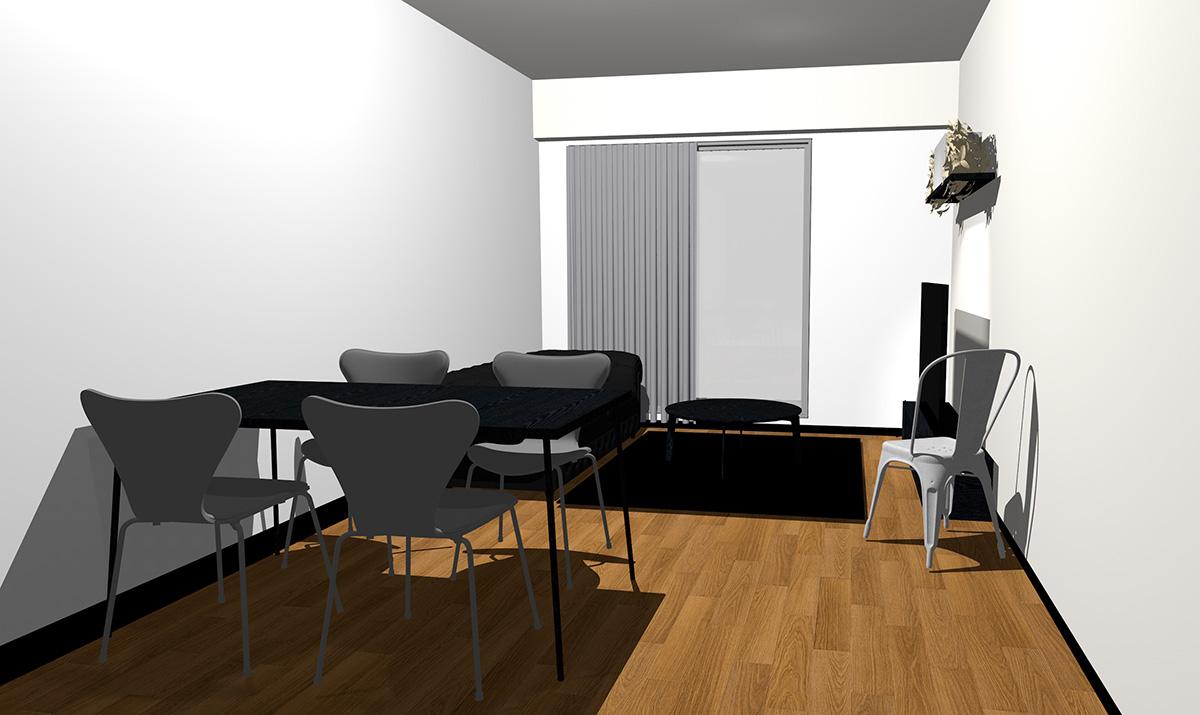 ミディアムブラウンの床とブラックの家具