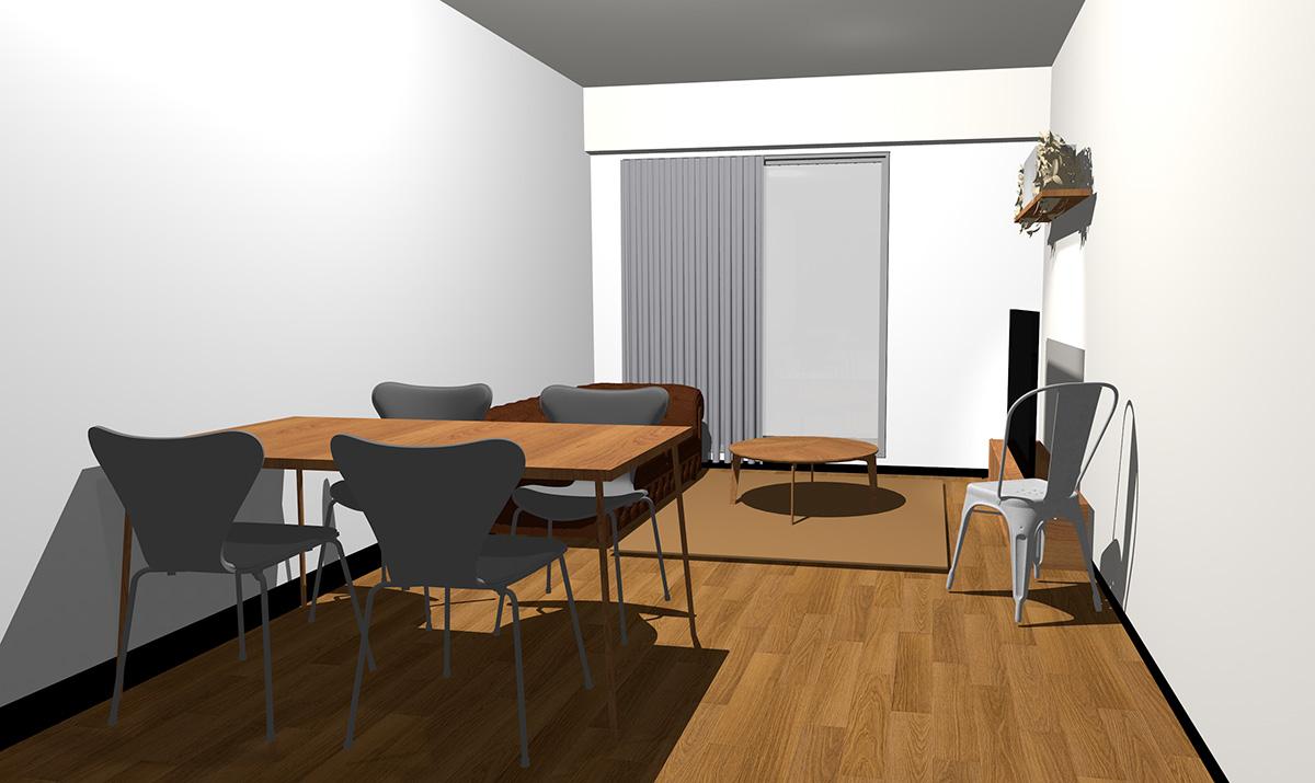 ミディアムブラウンの床とミディアムブラウンの家具
