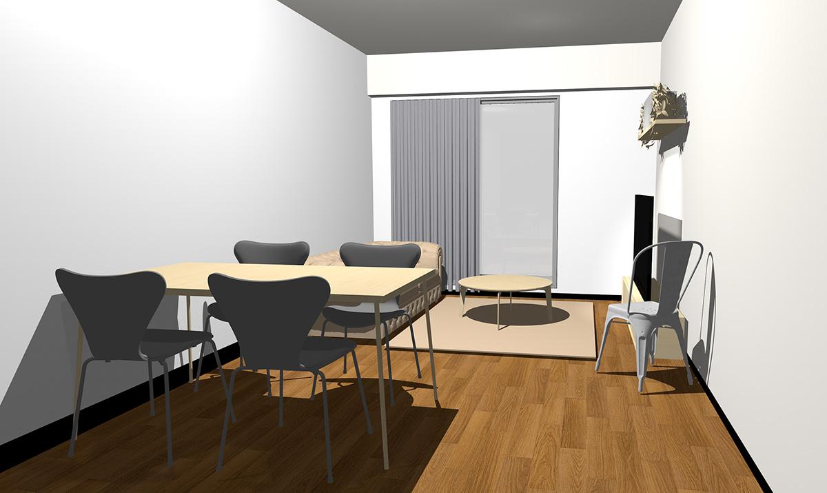 ミディアムブラウンの床とナチュラル(ライト)ブラウンの家具