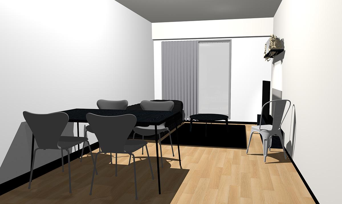 ナチュラル(ライト)ブラウンの床とブラックの家具