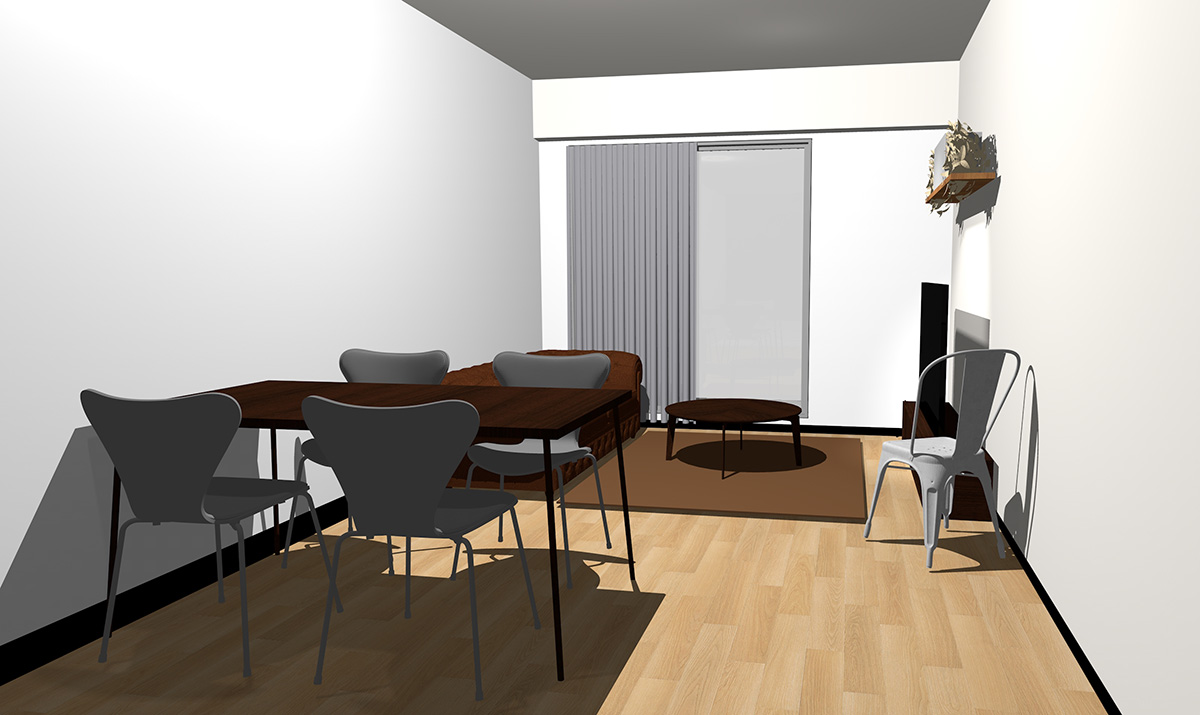ナチュラル(ライト)ブラウンの床とダークブラウンの家具