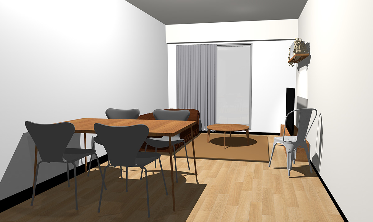 ナチュラル(ライト)ブラウンの床とミディアムブラウンの家具