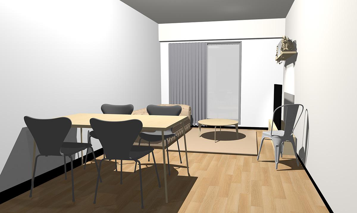 ナチュラル(ライト)ブラウンの床とナチュラル(ライト)ブラウンの家具