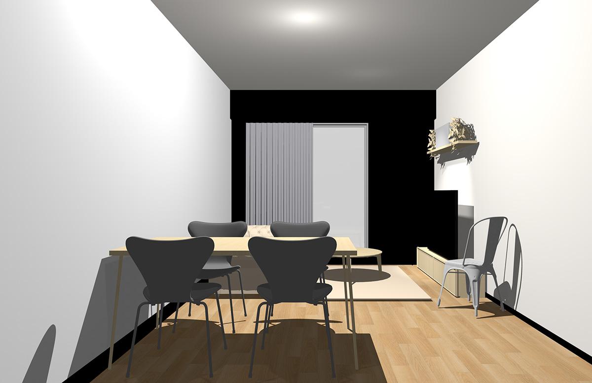 ナチュラル(ライト)ブラウンの床・ブラックの壁・ナチュラル(ライト)ブラウンの家具