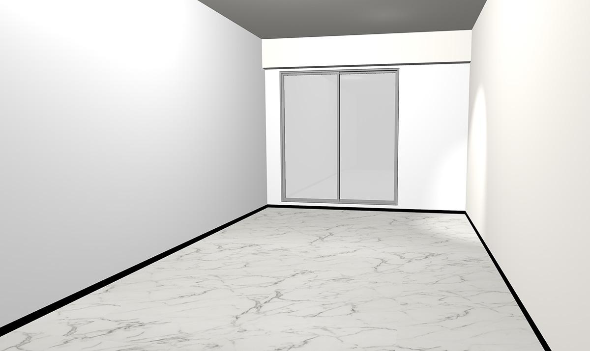 ホワイト×グレーの大理石調床