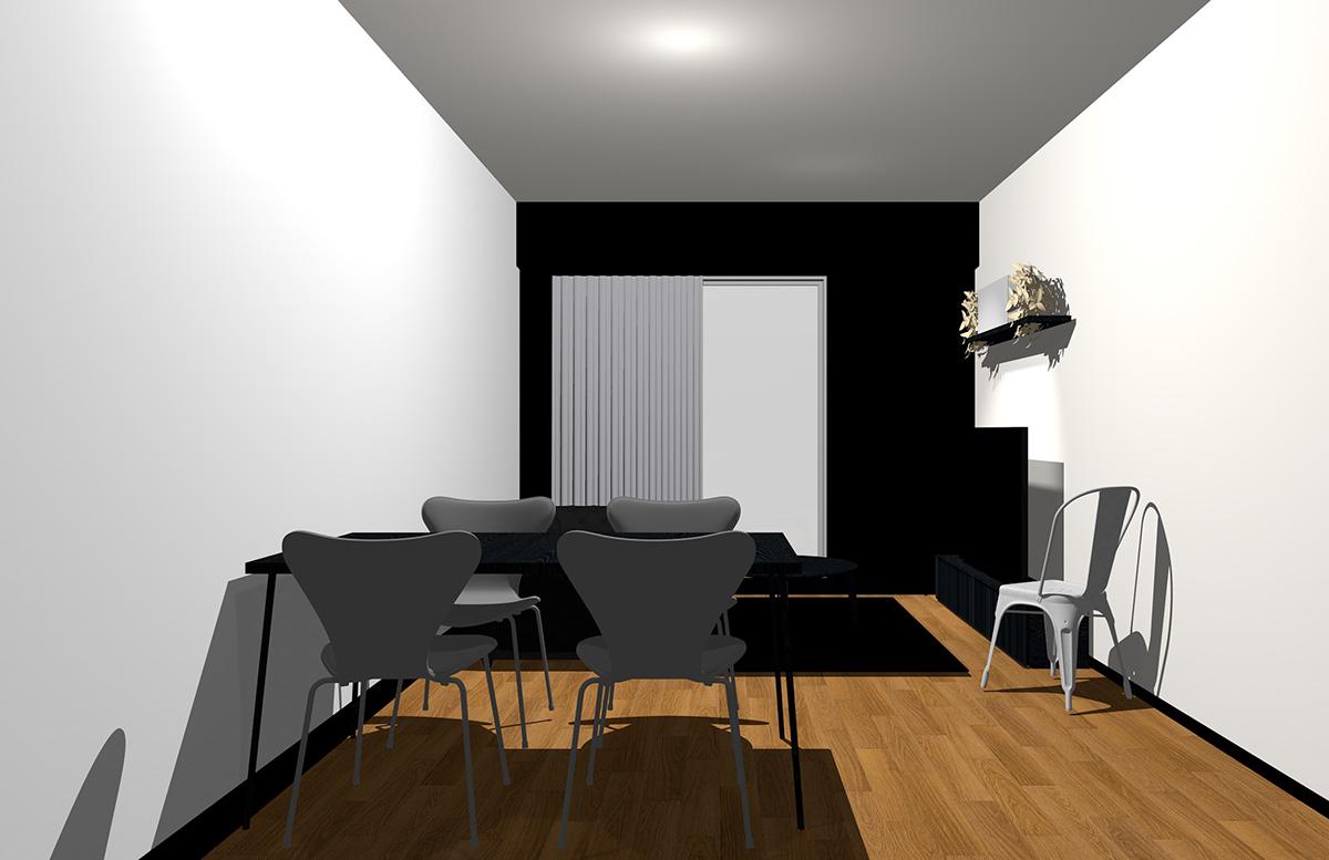 ブラックの壁とブラックの家具