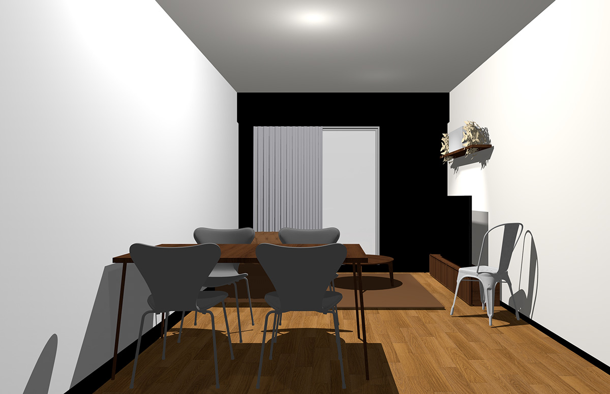 ブラックの壁とダークブラウンの家具