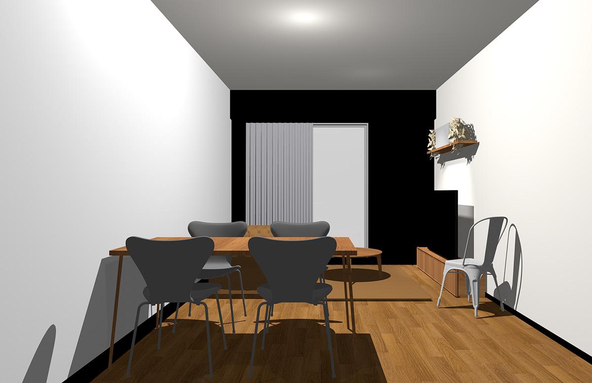 ブラックの壁とミディアムブラウンの家具