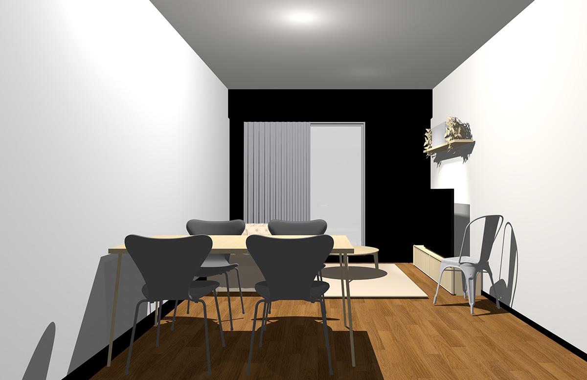 ブラックの壁とナチュラル(ライト)ブラウンの家具