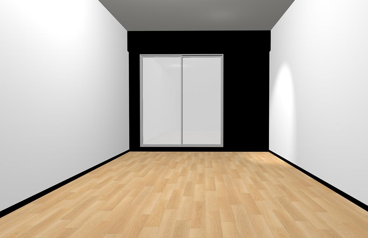 ナチュラルブラウンの床と短い面のみブラック(アクセント)