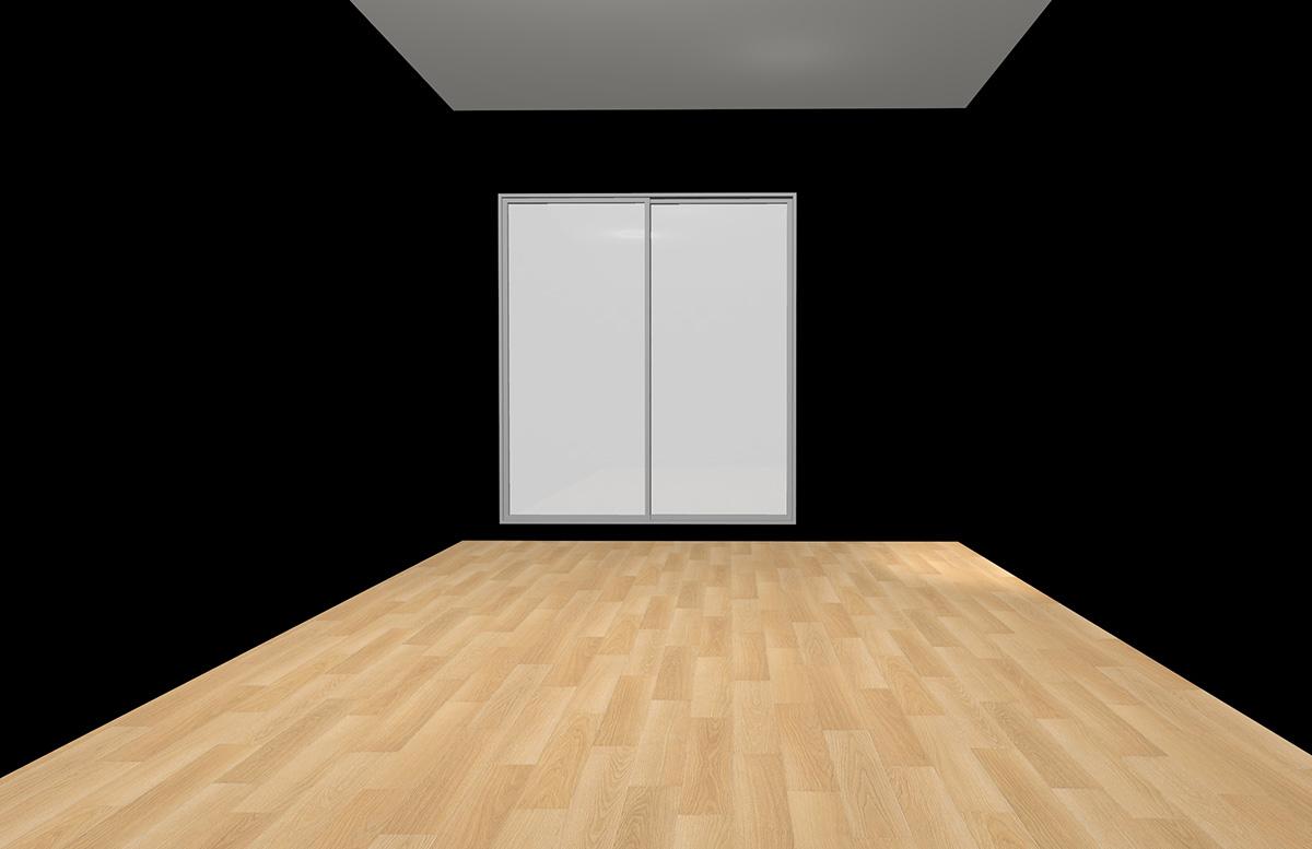 ナチュラルブラウンの床と全周ブラックの壁