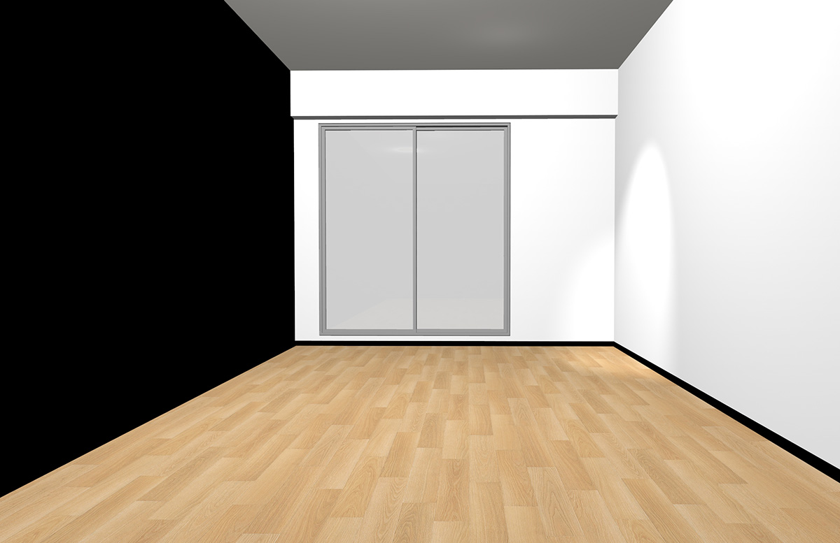 ナチュラルブラウンの床と長い面のみブラック(アクセント)