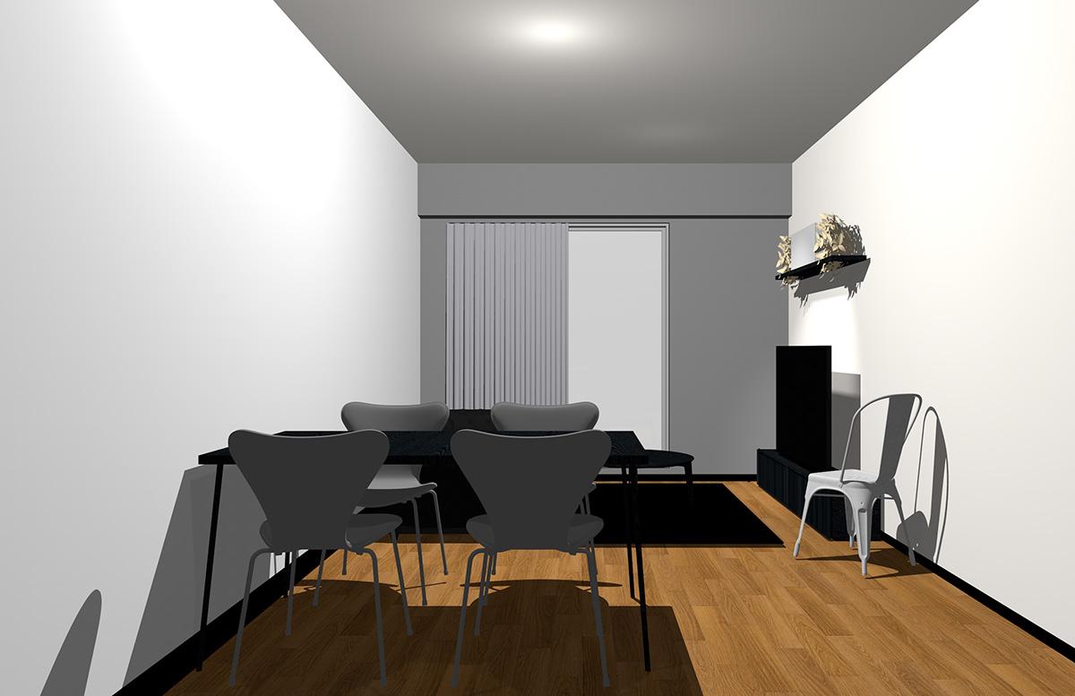 グレーの壁とブラックの家具