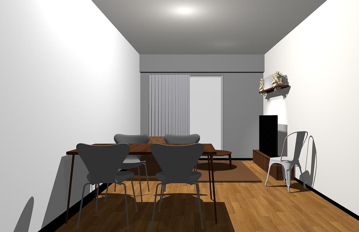 グレーの壁とダークブラウンの家具