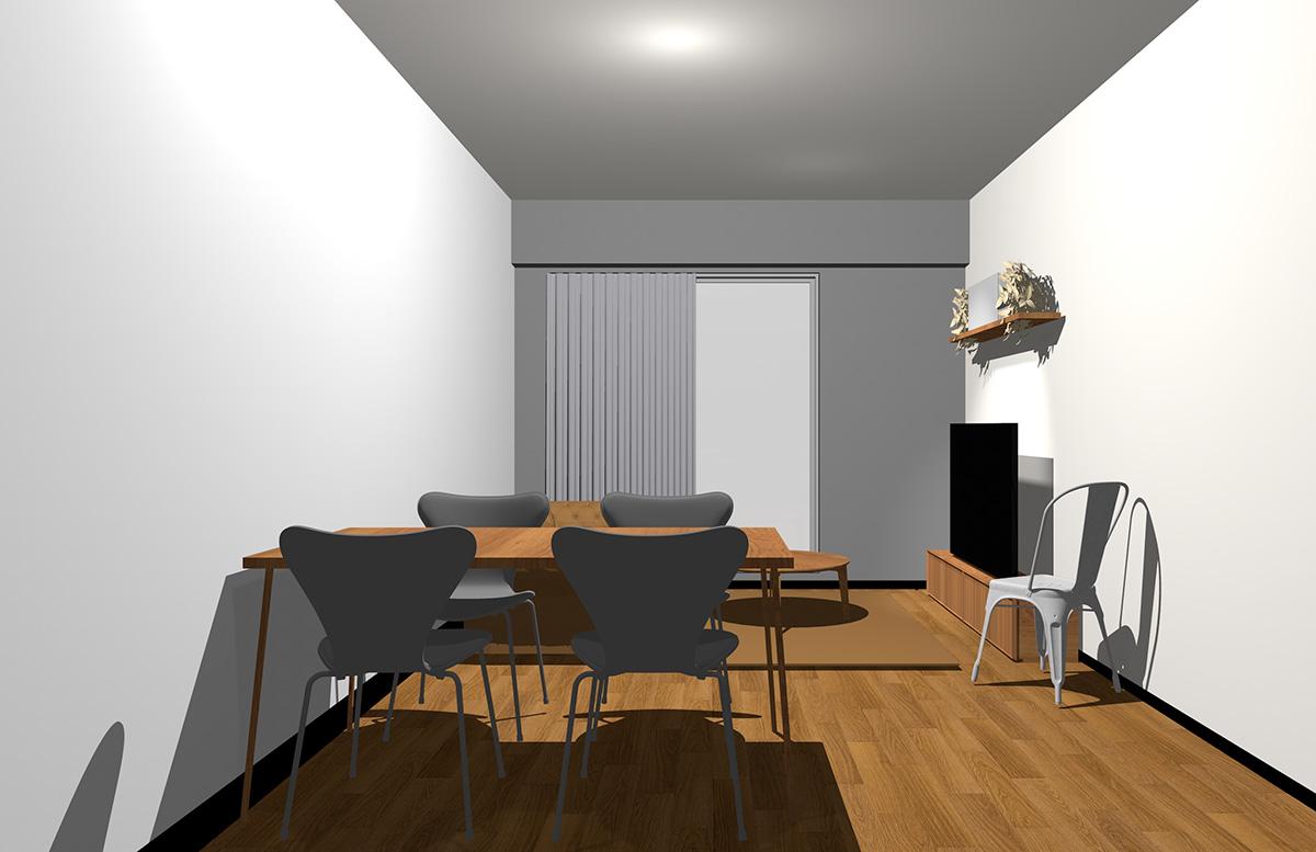 グレーの壁とミディアムブラウンの家具