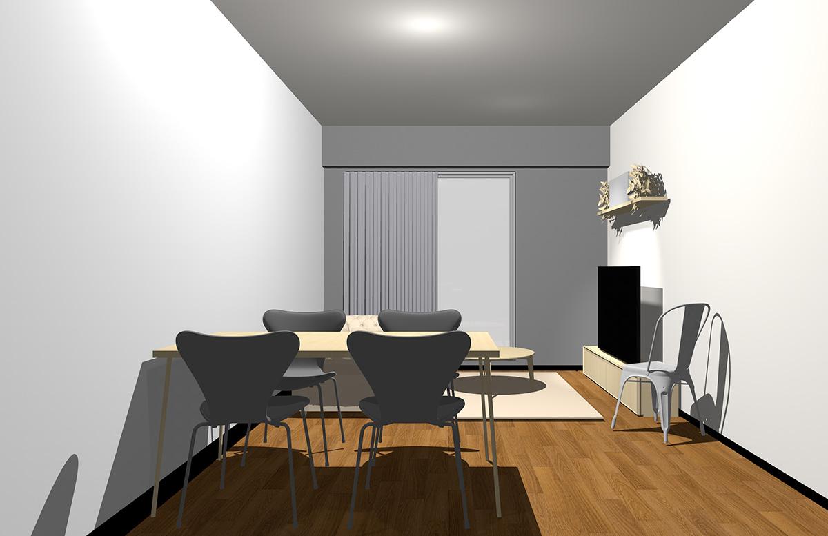 グレーの壁とナチュラル(ライト)ブラウンの家具
