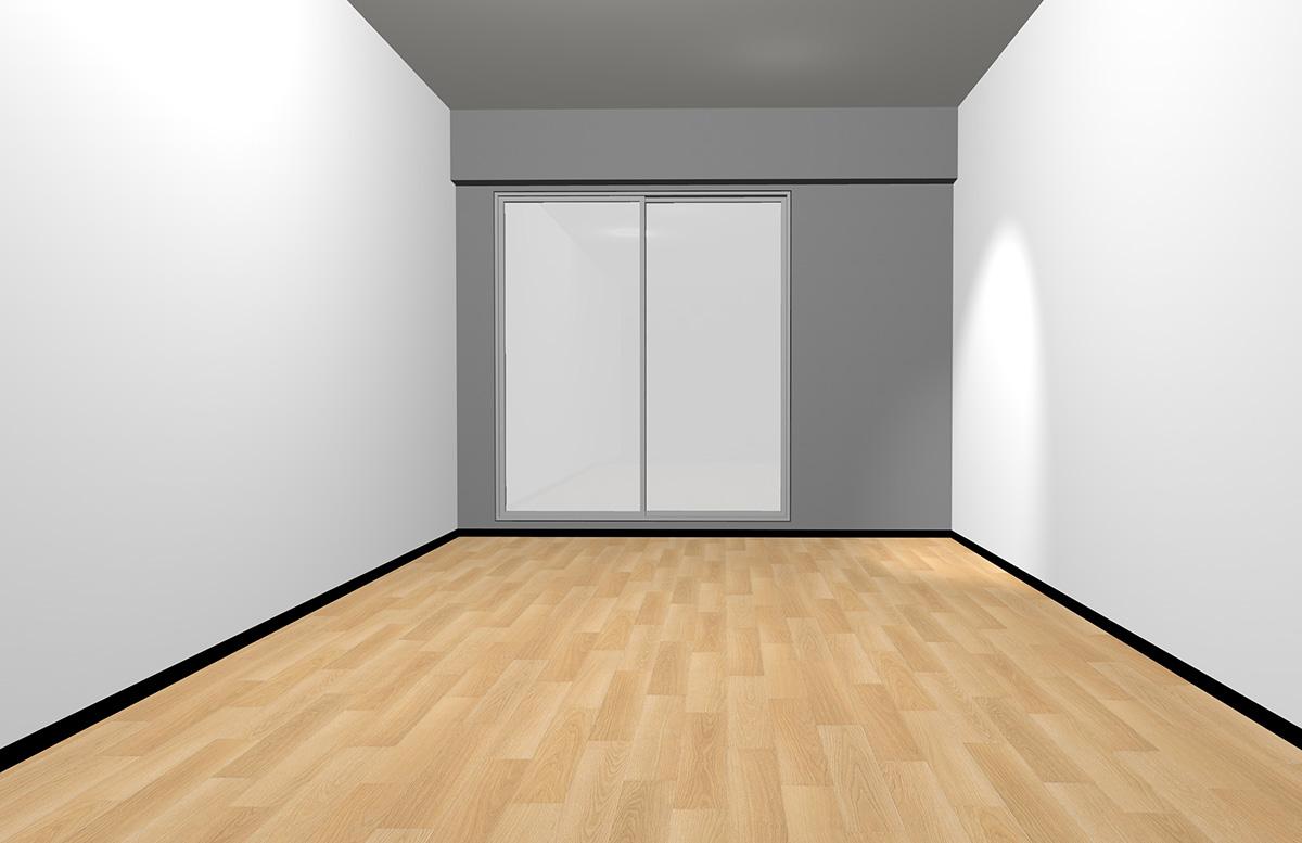 ナチュラルブラウンの床と短い面のみグレー(アクセント)