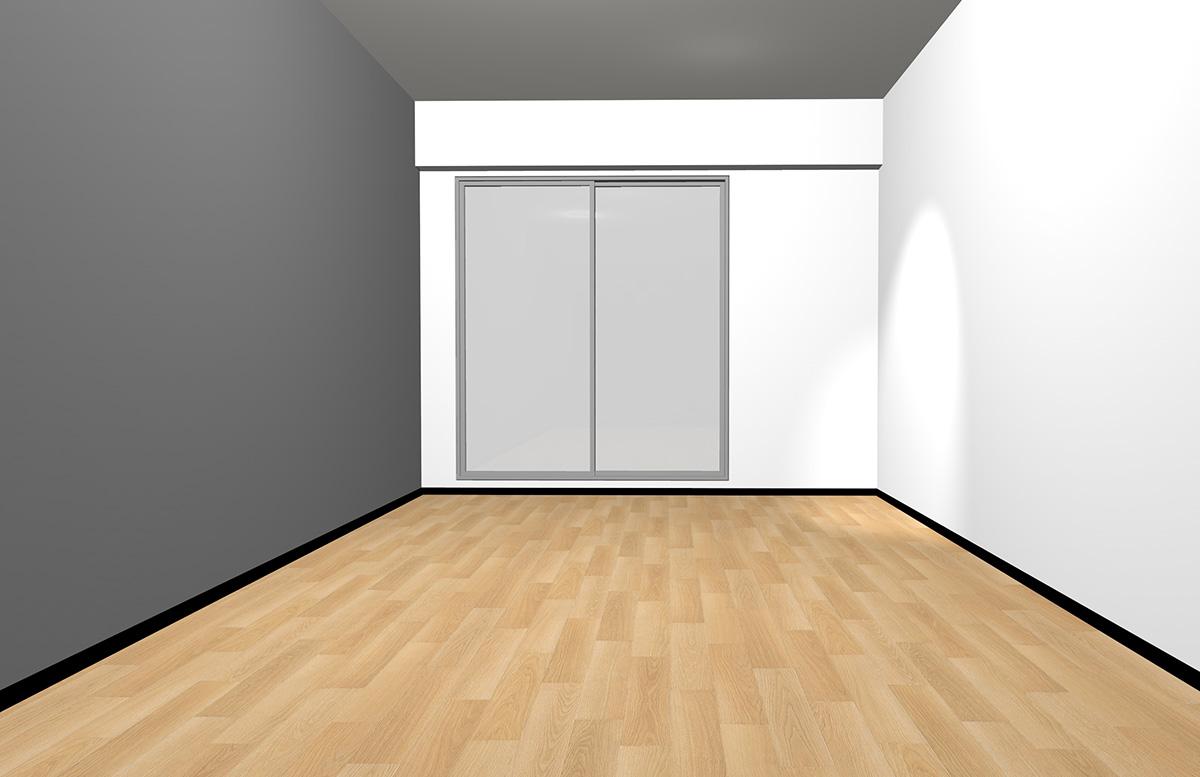 ナチュラルブラウンの床と長い面のみグレー(アクセント)