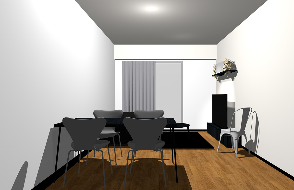 ホワイトの壁とブラックの家具