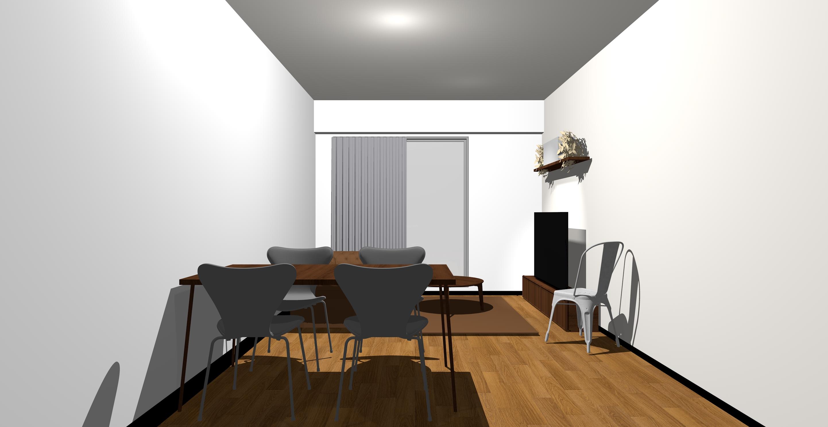 ホワイトの壁とダークブラウンの家具