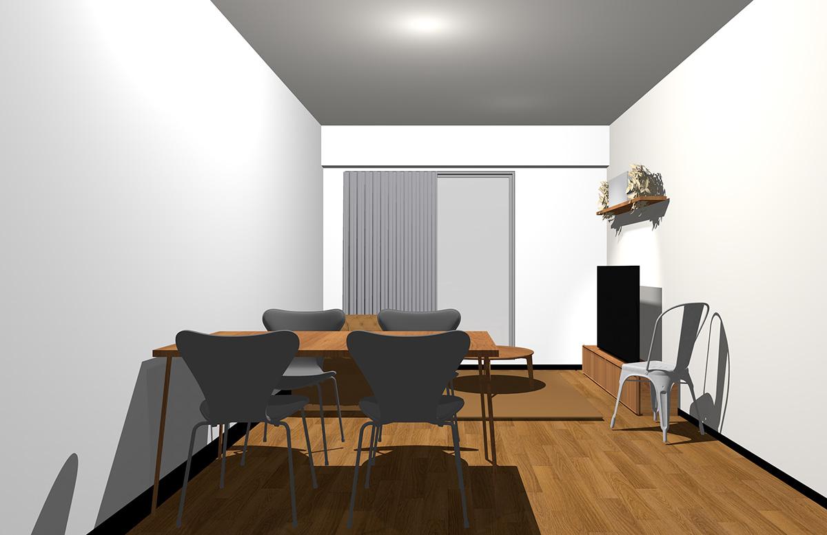 ホワイトの壁とミディアムブラウンの家具