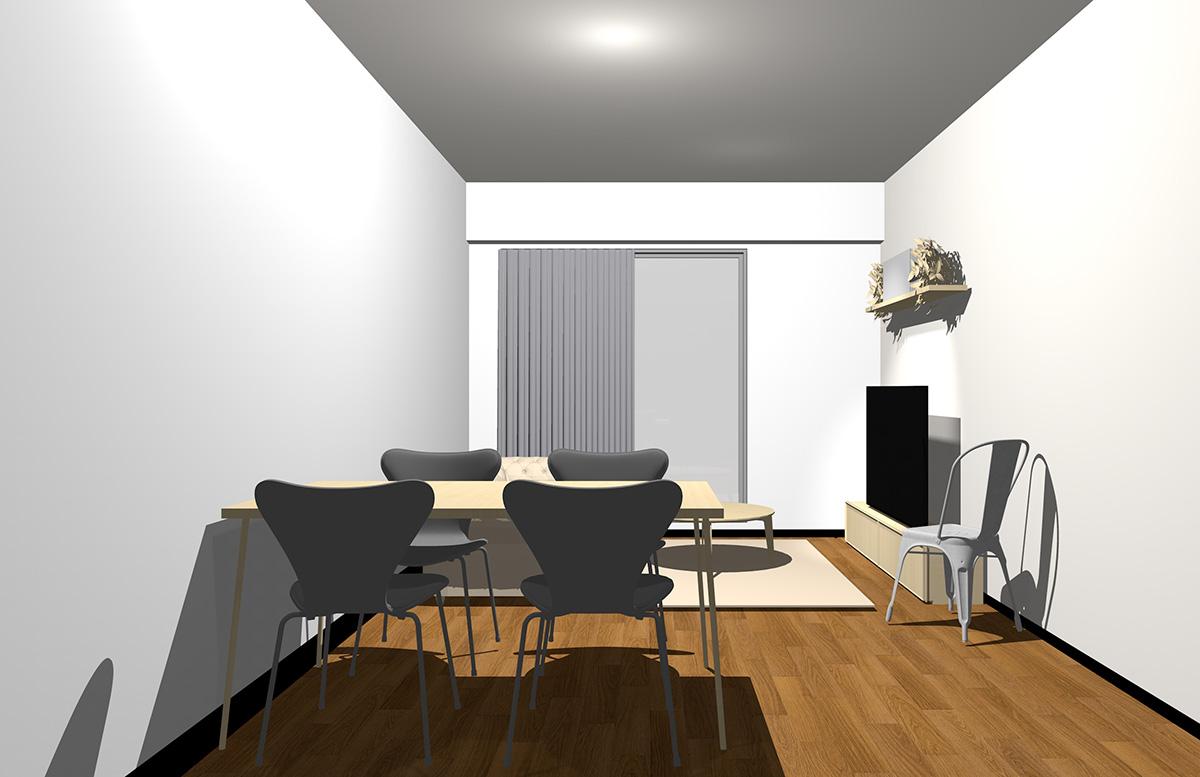 ホワイトの壁とナチュラル(ライト)ブラウンの家具
