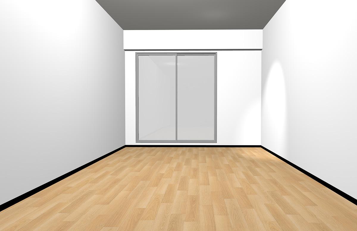 ナチュラルブラウンの床とホワイトの壁