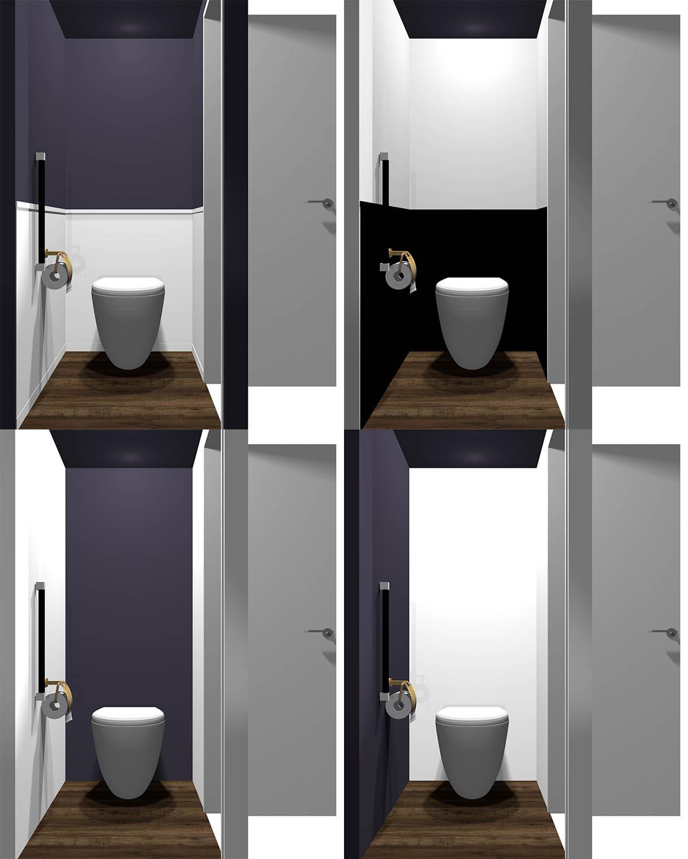 4種類の配色のトイレ