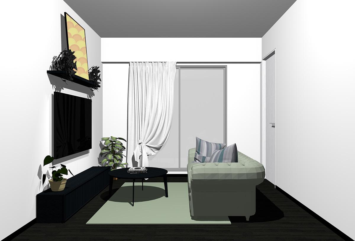 ブラックの床×ブラックの家具の北欧インテリア