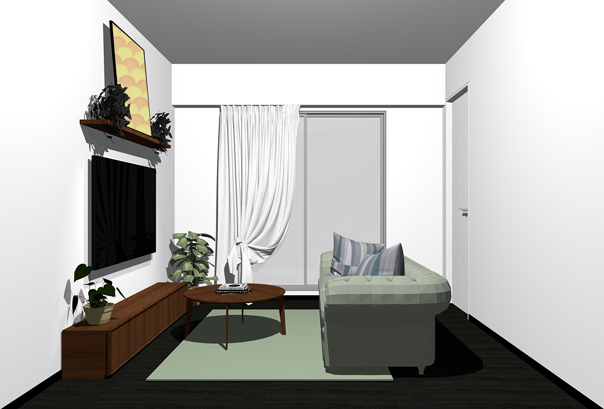 ブラックの床×暗い茶色の家具の北欧インテリア