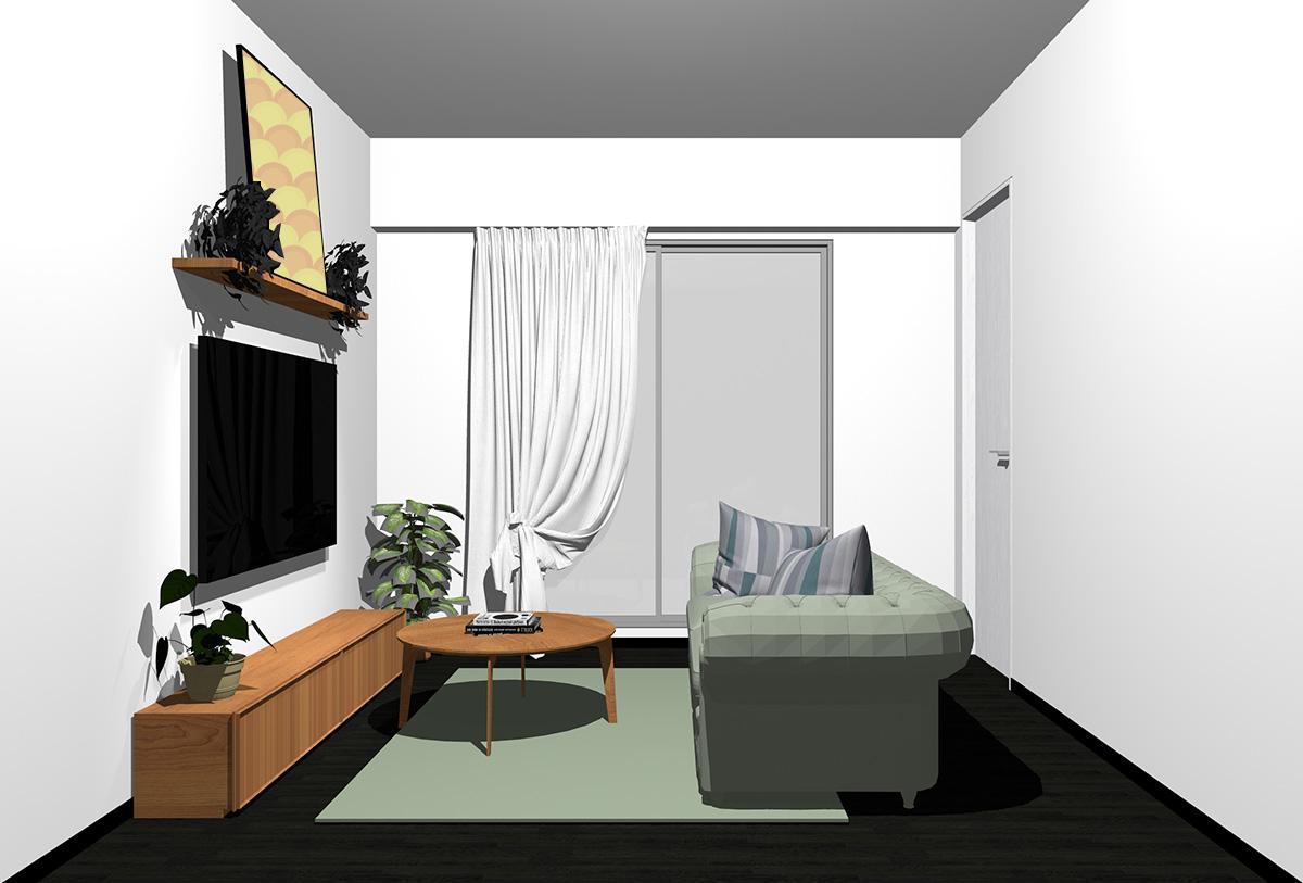 ブラックの床×茶色の家具の北欧インテリア