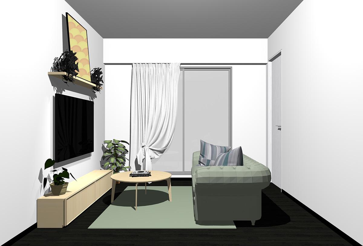 ブラックの床×薄い茶色の家具の北欧インテリア